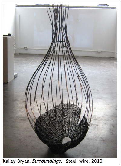 "Kailey Bryan's ""Surroundings,"" a steel weaved seedpod/cocoon inspired sculpture, is her response to brutalist architecture."