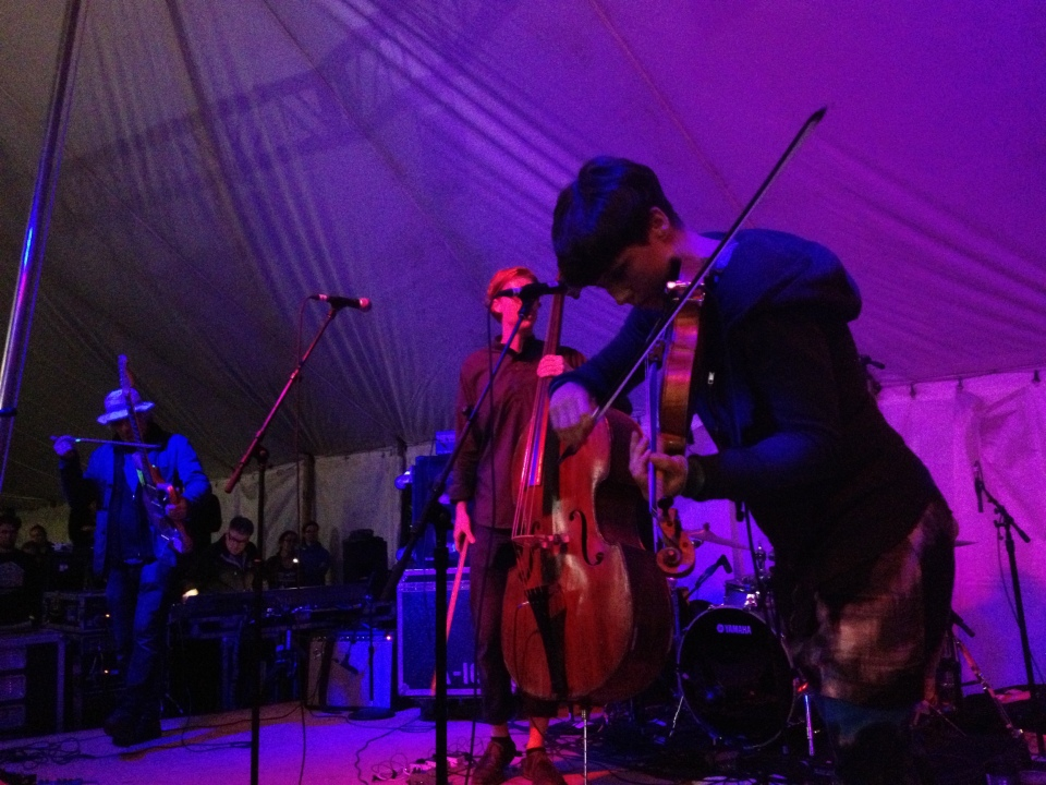 Lee Ranaldo and The Dust performed a collaborative workshop with Arcade Fire/Bell Orchestre members Colin Stetson, Sarah Neufeld, and Richard Reed Parry at Hillside Festival in Guelph, Ont. on July 28. Photo: Tom Beedham