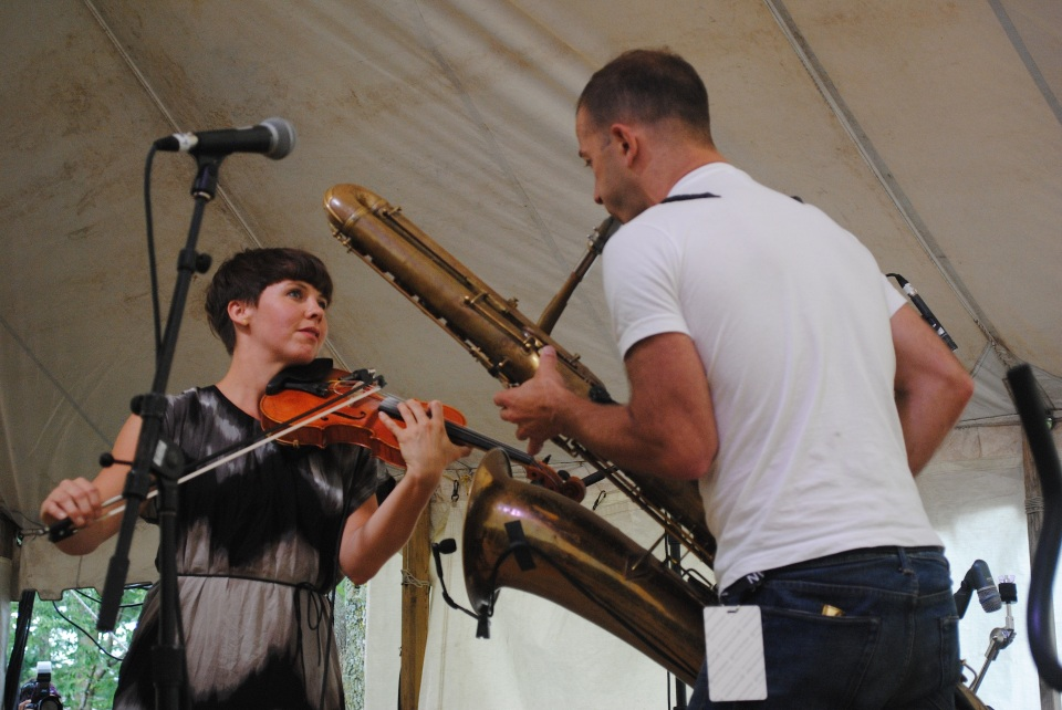 "Sarah Neufeld (left) brought life partner and Arcade Fire/Bell Orchestre bandmate Colin Stetson (right) onstage for a special performance of ""Breathing Black Ground"" amid a set of her solo material at Hillside Festival in Guelph, Ont. July 28. Photo: Tom Beedham"